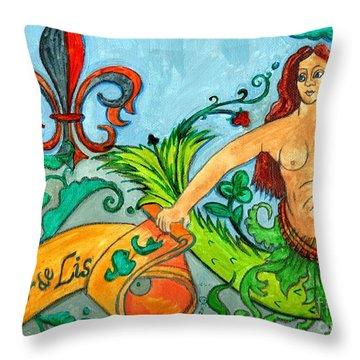 Fleur De Lis Mermaid Throw Pillow by Genevieve Esson