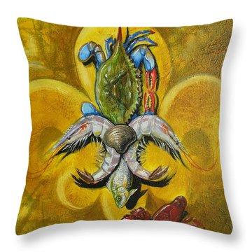 Fleur De Lis Throw Pillow by Theon Guillory