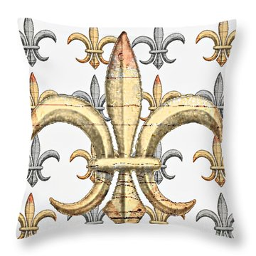 Fleur De Lys Silver And Gold Throw Pillow by Barbara Chichester