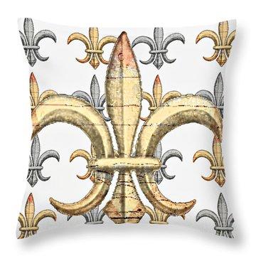 Fleur De Lys Silver And Gold Throw Pillow