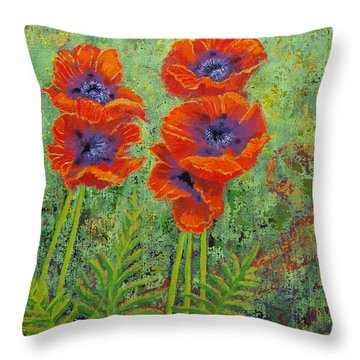 Fleurs Des Poppies Throw Pillow by Margaret Bobb