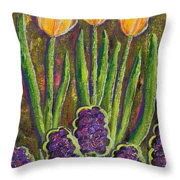 Fleurs D' Tulips And Hyacinths Throw Pillow by Margaret Bobb
