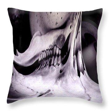 Throw Pillow featuring the photograph Flexify Deer Skull by Tarey Potter