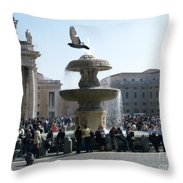 Throw Pillow featuring the photograph Flight And Fountain by Robin Maria Pedrero