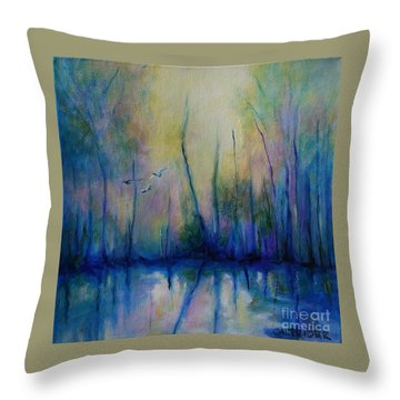 Flight In Morning Symphony Throw Pillow