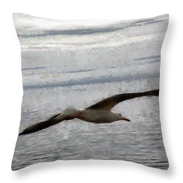 Throw Pillow featuring the painting Flight Of A Seagull by Georgi Dimitrov