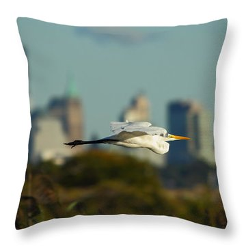 Flight Of The Great Egret Throw Pillow