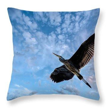 Flight Of The Heron Throw Pillow