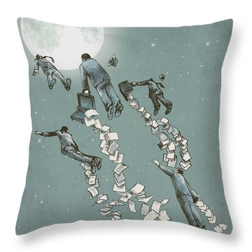 Flight Of The Salary Men Throw Pillow