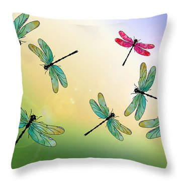 Flight Of The Scarlet Lady Throw Pillow
