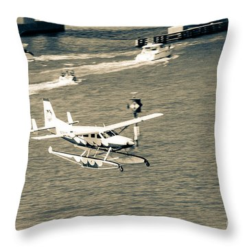 Flight- Landing In The Bay Throw Pillow by Rene Triay Photography