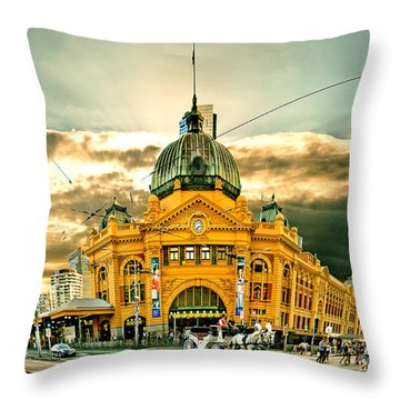 Flinders St Station Throw Pillow by Az Jackson