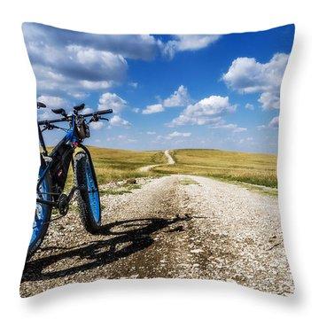 Flint Hills Fall Fatbike Ride Throw Pillow