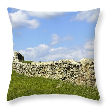 Throw Pillow featuring the photograph Flint Hills Rock Fence by Steven Bateson