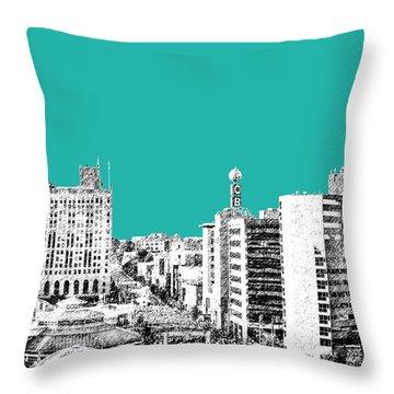 Flint Michigan Skyline - Teal Throw Pillow by DB Artist
