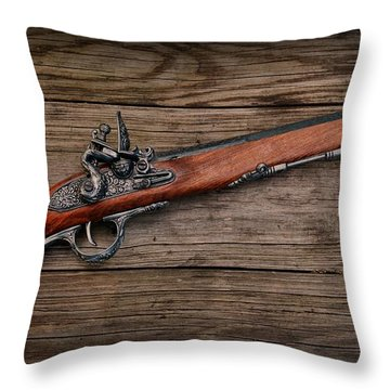 Flintlock Blunderbuss Pistol Throw Pillow by Paul Ward