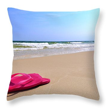 Flip Flops On Beach Throw Pillow
