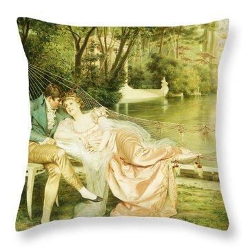 Flirtation  Throw Pillow by Joseph Frederick Charles Soulacroix