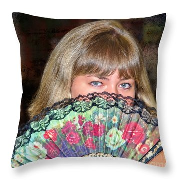 Flirting With The Fan Throw Pillow by Mariola Bitner