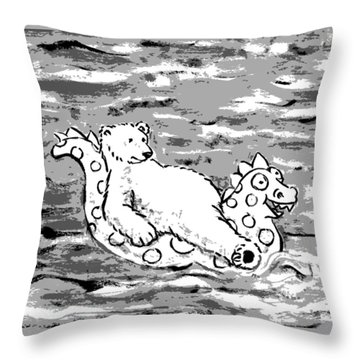 Floating Bear Grisaille Throw Pillow by Holly Wood