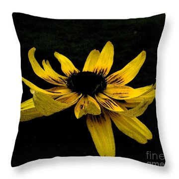 Throw Pillow featuring the photograph  Black Eyed Susan Suspense by Ecinja