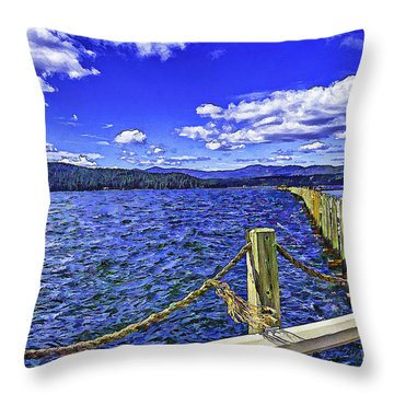Floating Dock On A Windy Day   Throw Pillow