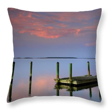 Floating Docks Throw Pillow by Phill Doherty