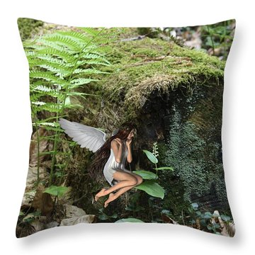 Floating Fairy In Forest Throw Pillow