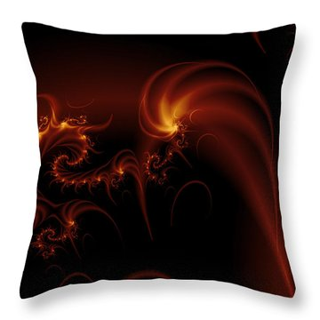 Floating Fire Fractal Throw Pillow