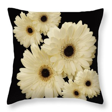 Floating Flowers Throw Pillow by Nancy Dempsey