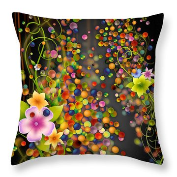 Floating Fragrances - Black Version Throw Pillow by Peter Awax