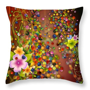 Floating Fragrances - Red Version Throw Pillow by Bedros Awak