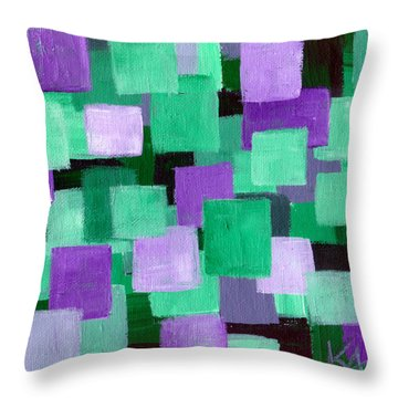 Floating Green And Purple Squares Throw Pillow by Art by Kar