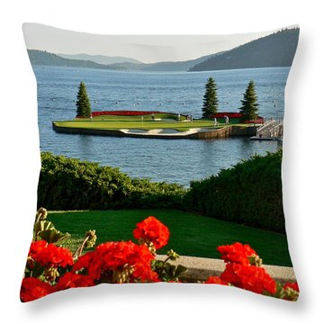 Floating Green Throw Pillow