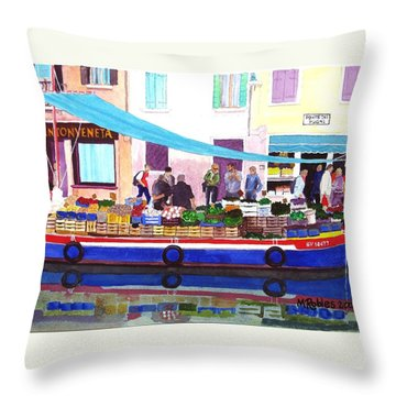 Floating Grocery Store Throw Pillow by Mike Robles