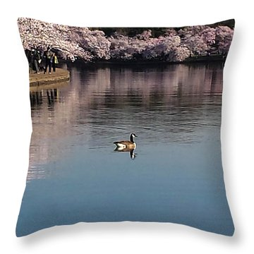 Floating In The Tidal Basin Throw Pillow