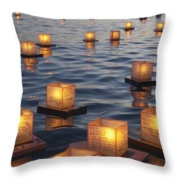 Floating Lanterns At Sunset Throw Pillow
