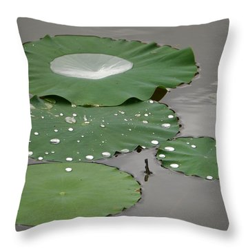 Floating Lotus Leaves Throw Pillow