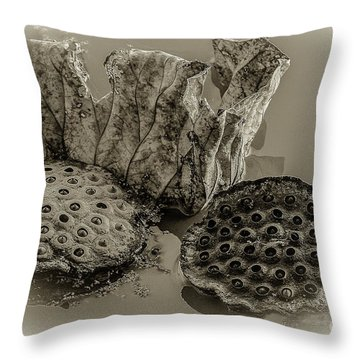 Floating Lotus Seed Pods 2 Throw Pillow
