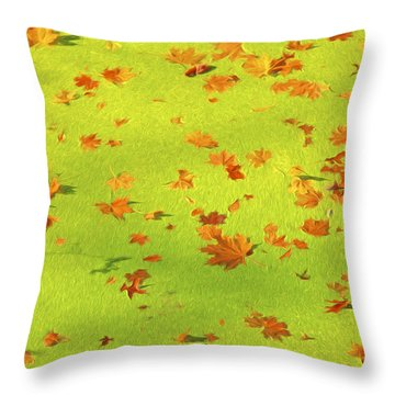 Floating Orange Leaves  Throw Pillow