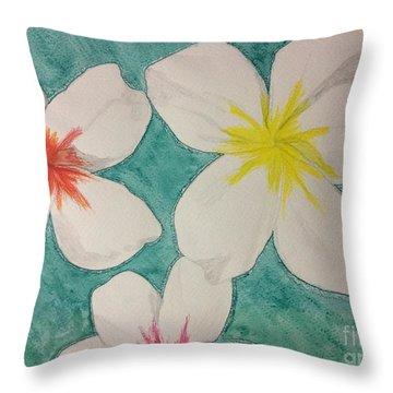 Floating Plumeria Throw Pillow