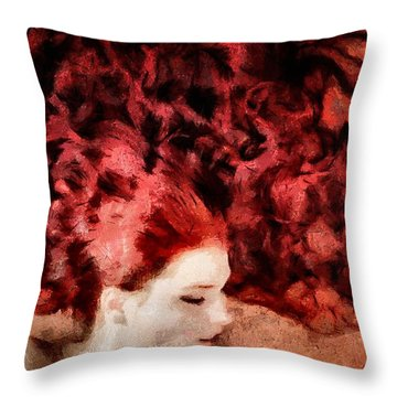 Floating Red Throw Pillow