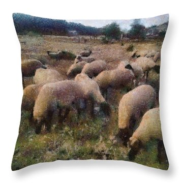 Throw Pillow featuring the painting Flock Of Sheep by Georgi Dimitrov
