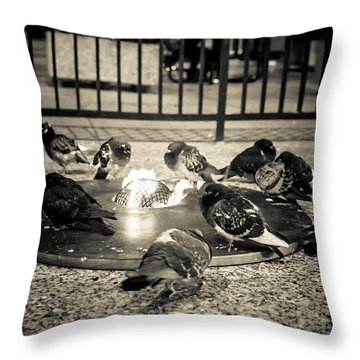 Flockin' Around The Fire Throw Pillow by Melinda Ledsome
