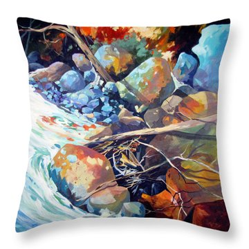 Throw Pillow featuring the painting Flood Plain by Rae Andrews