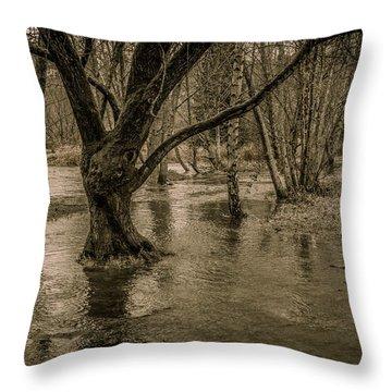 Flooded Tree Throw Pillow