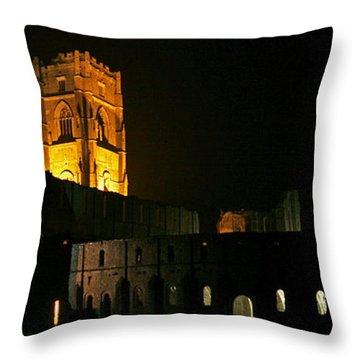 Floodlit Fountains Abbey Throw Pillow