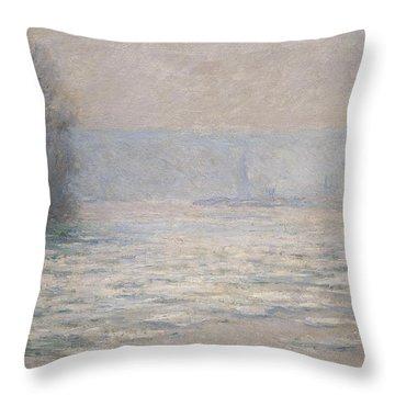 Floods On The Seine Near Bennecourt Throw Pillow by Claude Monet