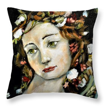 Flora Detail Throw Pillow by Carrie Joy Byrnes