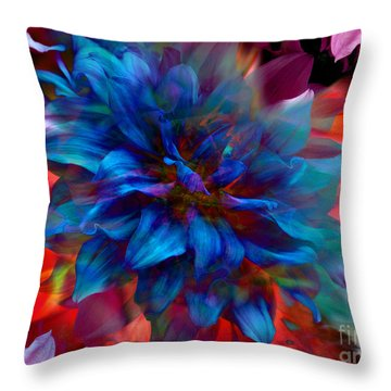 Floral Abstract Color Explosion Throw Pillow by Stuart Turnbull